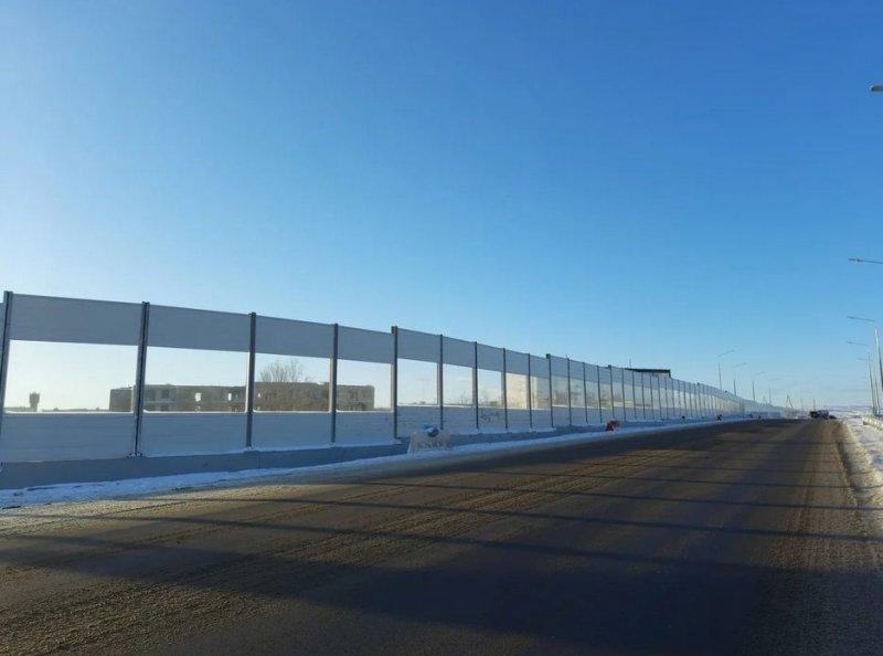 Защитный экран установили на трассе возле Заполярного