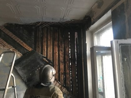 Горела пятиэтажка в Кировске