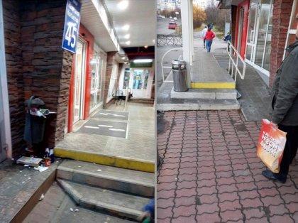 В помойку чуть не превратилось крыльцо магазина в Мурманске